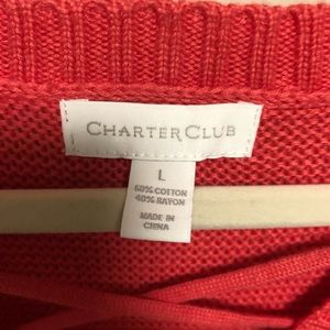 Charter Club Sweaters - NWT! Charter club pink lace up neck sweater